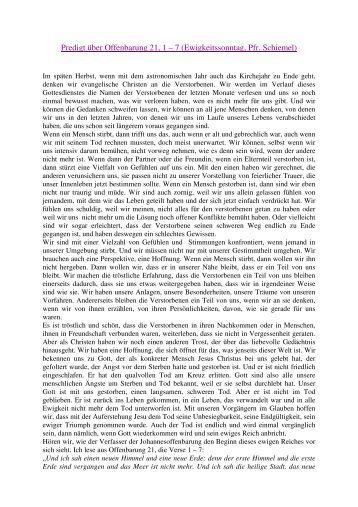 Predigt über Offenbarung 21, 1 – 7 (Ewigkeitssonntag, Pfr. Schiemel)