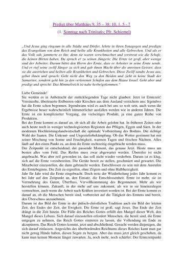 Predigt über Matthäus 9, 35 – 38; 10, 1. 5 - 7 (1. Sonntag nach ...