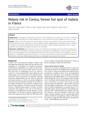 Malaria risk in Corsica, former hot spot of malaria in France - HAL
