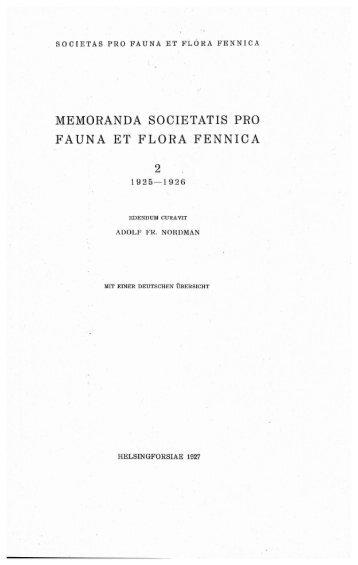 memoranda societatis pro fauna et flora fennica - Helda