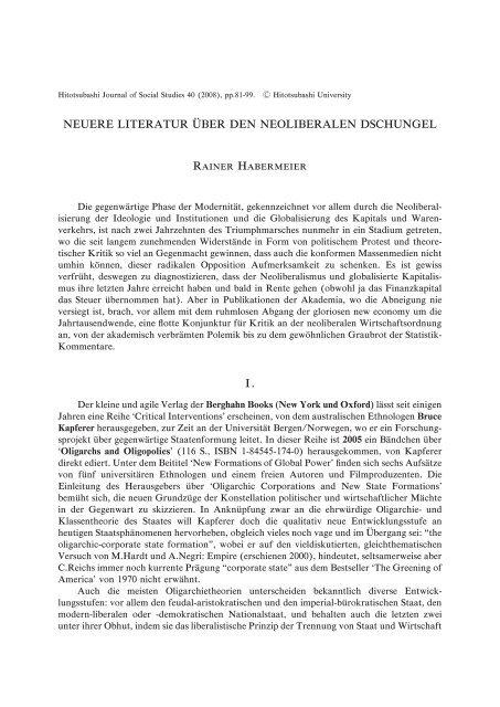 Title Neuere Literatur über den Neoliberalen ... - HERMES-IR