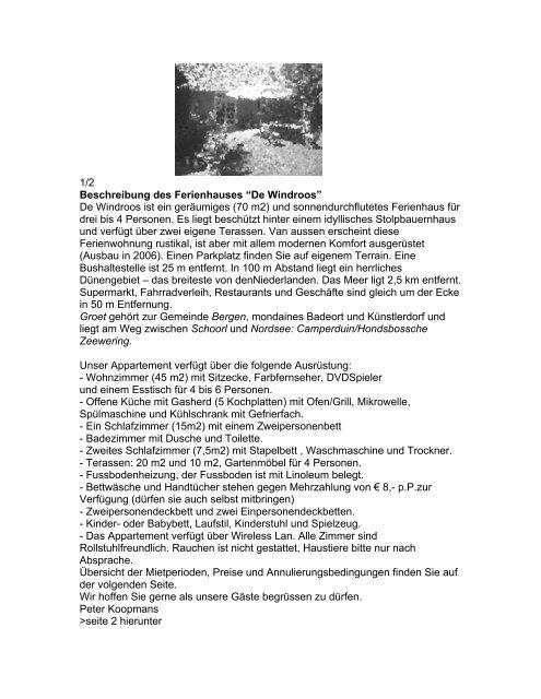 "1/2 Beschreibung des Ferienhauses ""De Windroos"" De ... - KPN"