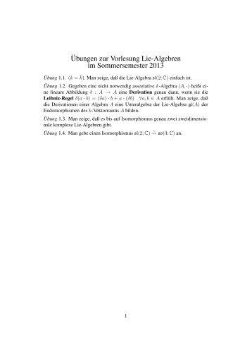 Übungen zur Vorlesung Lie-Algebren im Sommersemester 2013
