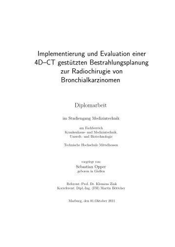 Implementierung und Evaluation einer 4D–CT gestützten ...