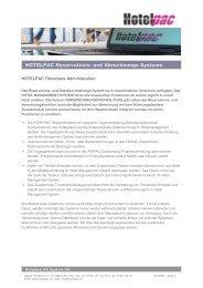 HOTELPAC Reservations- und Abrechnungs Systeme - Tiscover