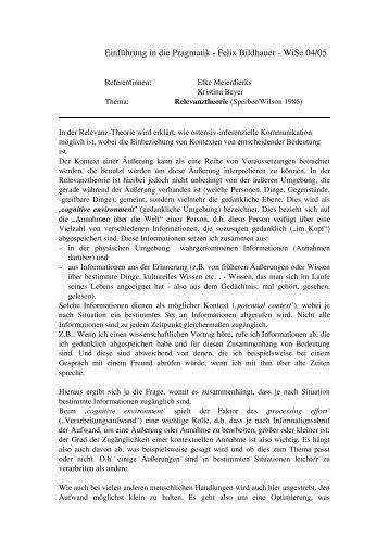 Einführung in die Pragmatik Felix Bildhauer WiSe 04/05