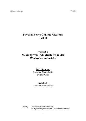 Physikalisches Grundpraktikum Teil II Messung von ... - IFAT