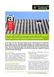 """ASBEST: Vom """"Wundermaterial"""" zum Verbot - umweltberatung"""
