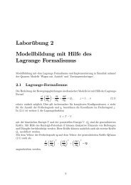 Laborübung 2 Modellbildung mit Hilfe des Lagrange ... - FH-Wels
