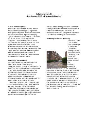 """Erfahrungsbericht """"Praxisphase 2007 – Universität Dundee"""""""