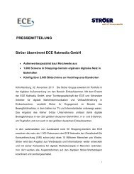 PRESSEMITTEILUNG Ströer übernimmt ECE flatmedia GmbH