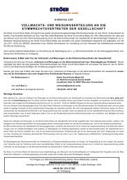VOLLMACHTS- UND WEISUNGSERTEILUNG AN DIE ...