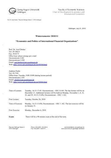 "Wintersemester 2010/11 ""Economics and Politics of International ..."