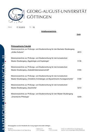 17.10.2012 19 Inhaltsverzeichnis Seite Philosophische Fakultät ...