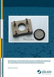 Entwicklung und Charakterisierung eines metallischen Substrats für ...