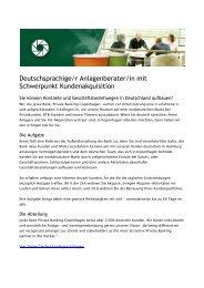 Deutschsprachige/r Anlagenberater/in mit ... - Jyske Bank