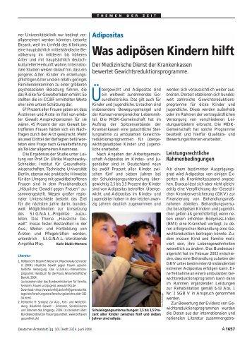 Adipositas Was adipösen Kindern hilft - Kinder-Umwelt-Gesundheit