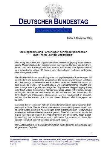 06.11.06 Stellungnahme Kinder und Medien - Kinder-Umwelt ...