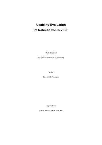 Usability-Evaluation im Rahmen von INVISIP - KOPS - Universität ...