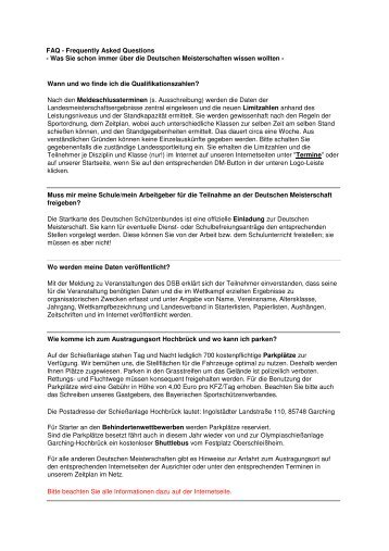 FAQ - Frequently Asked Questions - Kreisschützenverband ...