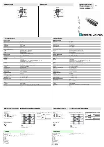 Ultraschall-Sensor Ultrasonic sensor Abmessungen Technische ...