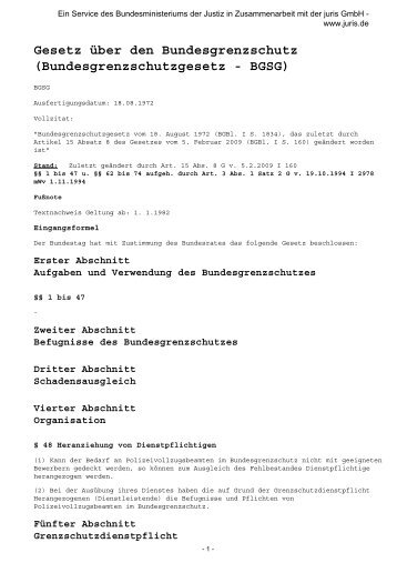 Bundesgrenzschutzgesetz - BGSG - Legislationline