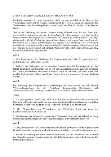 Das Neue Grundgesetz des Vatikanstaates - Legislationline