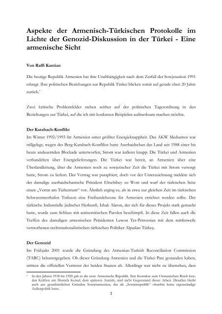 Aspekte Der Armenisch Türkischen Protokolle Im Lichte Der