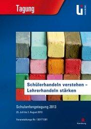 Schulanfangstagung 2013 - Landesinstitut für Lehrerbildung und ...