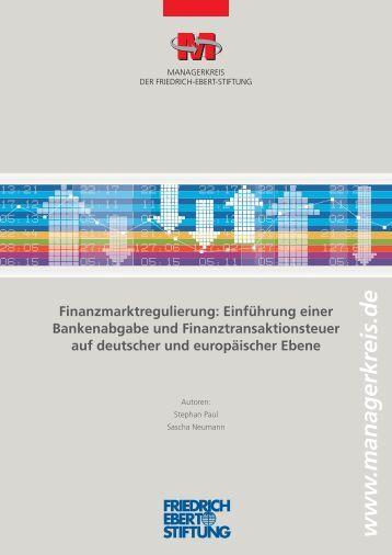 Finanzmarktregulierung : Einführung einer Bankenabgabe und ...