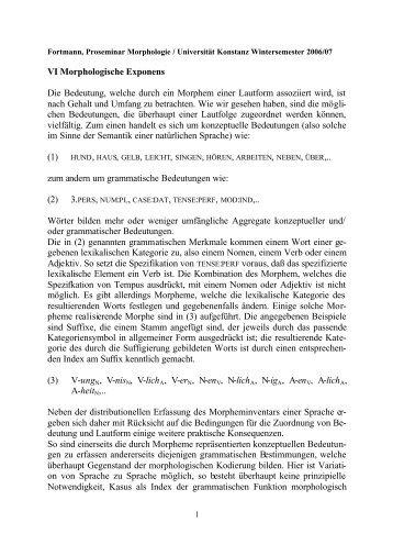 VI Morphologische Exponens Die Bedeutung, welche durch ein ...