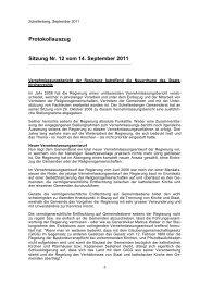 Protokollauszug Sitzung Nr. 12 vom 14. September 2011