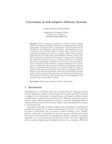 Uncertainty in Self-Adaptive Software Systems - George Mason ...