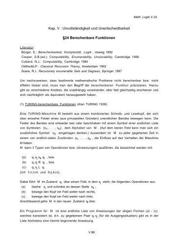 Kap. V : Unvollständigkeit und Unentscheidbarkeit §24 ...