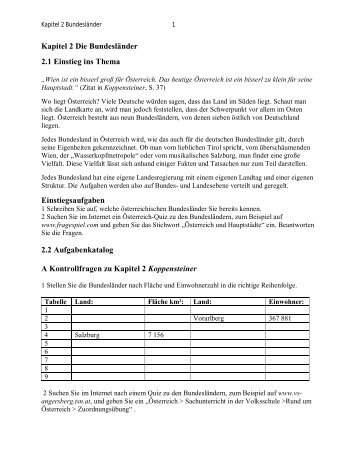 Kapitel 2 Die Bundesländer 2.1 Einstieg ins Thema ...