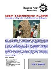 Geigen- & Schmankerlfest im Zillertal - Passauer Neue Presse
