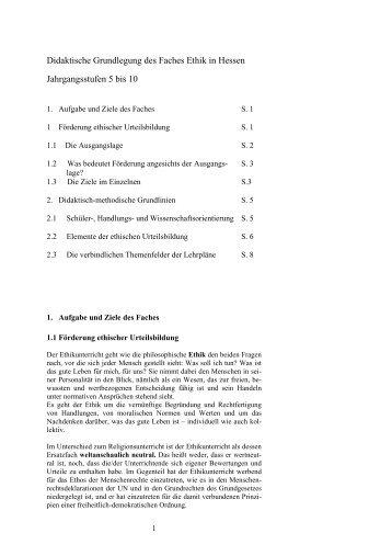 Didaktische Grundlegung des Faches Ethik in Hessen ...