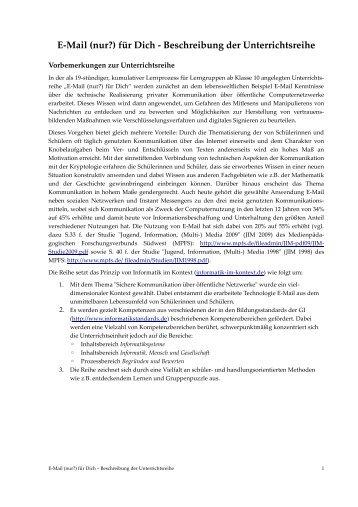 Beschreibung der Unterrichtsreihe - Medienwissenschaft Universität ...