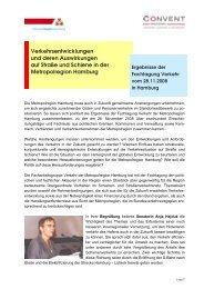Ergebnisse der Fachtagung Verkehr 2008 - Metropolregion Hamburg