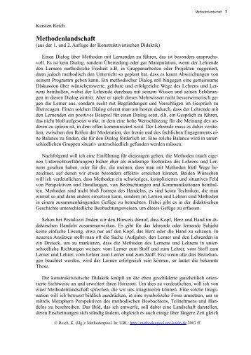 Text zur Methodenlandschaft - Methodenpool