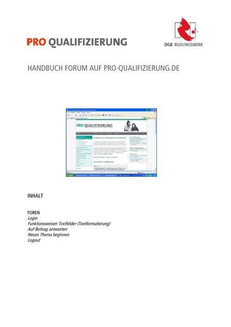 handbuch forum auf pro-qualifizierung.de - Migration-online