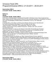 Programmhinweise DRS 2, 21.03.2011 - Schweizer Radio und ...