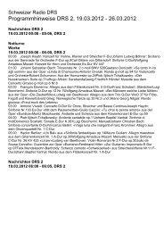 Programmhinweise DRS 2, 19.03.2012 - Schweizer Radio und ...