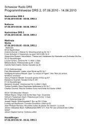 Programmhinweise DRS 2, 07.06.2010 - 14.06.2010
