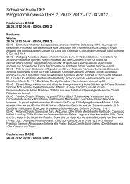 Programmhinweise DRS 2, 26.03.2012 - Schweizer Radio und ...
