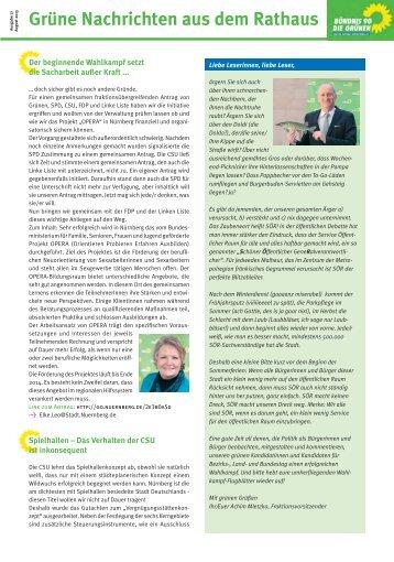 Grüne Nachrichten aus dem Rathaus August 2013 - Stadt Nürnberg