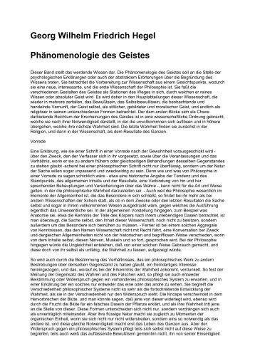 Georg Wilhelm Friedrich Hegel Phänomenologie des Geistes