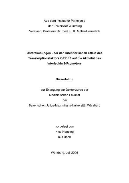 Aus dem Pathologischem Institut der Universität Würzburg - OPUS ...