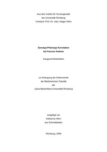 Genotyp-Phänotyp Korrelation bei Fanconi Anämie - OPUS ...