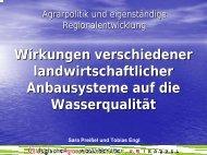 Wirkung verschiedener landwirtschaftlicher Anbausysteme auf die ...